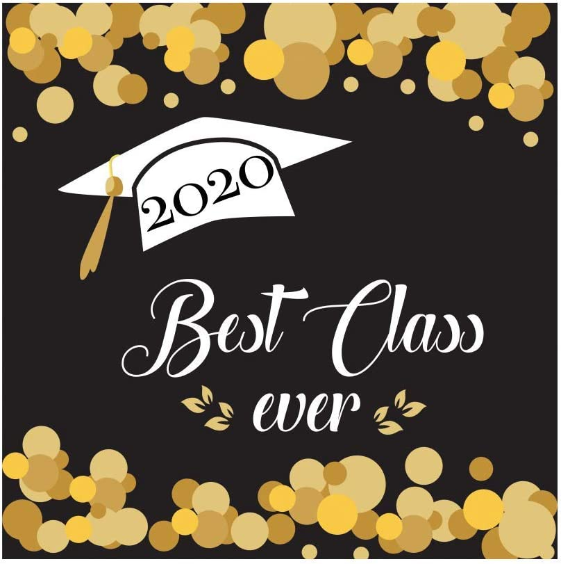 10x8FT Class of 2020 Backdrop Golden Dots Leaves Best Class Ever Photography Background Class Graduation Prom Party Banner Vinyl Photo Studio Props