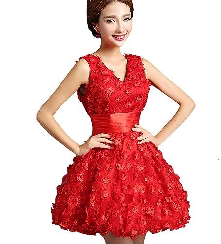 ブライズメイドドレス、通勤スカート、飲み会ドレスパーティードレス、デートドレス、同窓会ドレス、忘年会ドレス、午後茶ドレスひざ丈結婚式 二次会ドレス、発表会ドレス CocktailDress(M,Red)