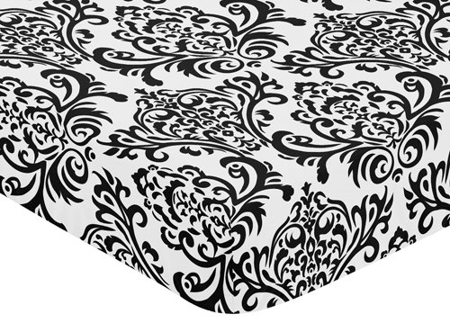 Isabella Sheets (Black and White Isabella Fitted Crib Sheet for Baby/Toddler Bedding Sets by Sweet Jojo Designs - Damask)