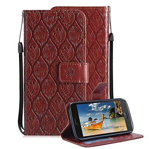 (For Motorola MOTO G5 Plus Wallet Case, Aearl Soft PU Leather 3D Totem Embossed Rattan Flower Design Case with Stand Function ID Slot Card Holder Wrist Strap Slim Flip Cover for MOTO G5 Plus - Brown)