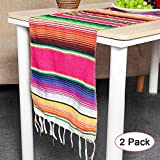Hokic 2pcs Mexican Table Runner for Mexican Theme Party Decorations Wedding Carnival Party Supplies, Cotton Red Mexican Serape Table Runner