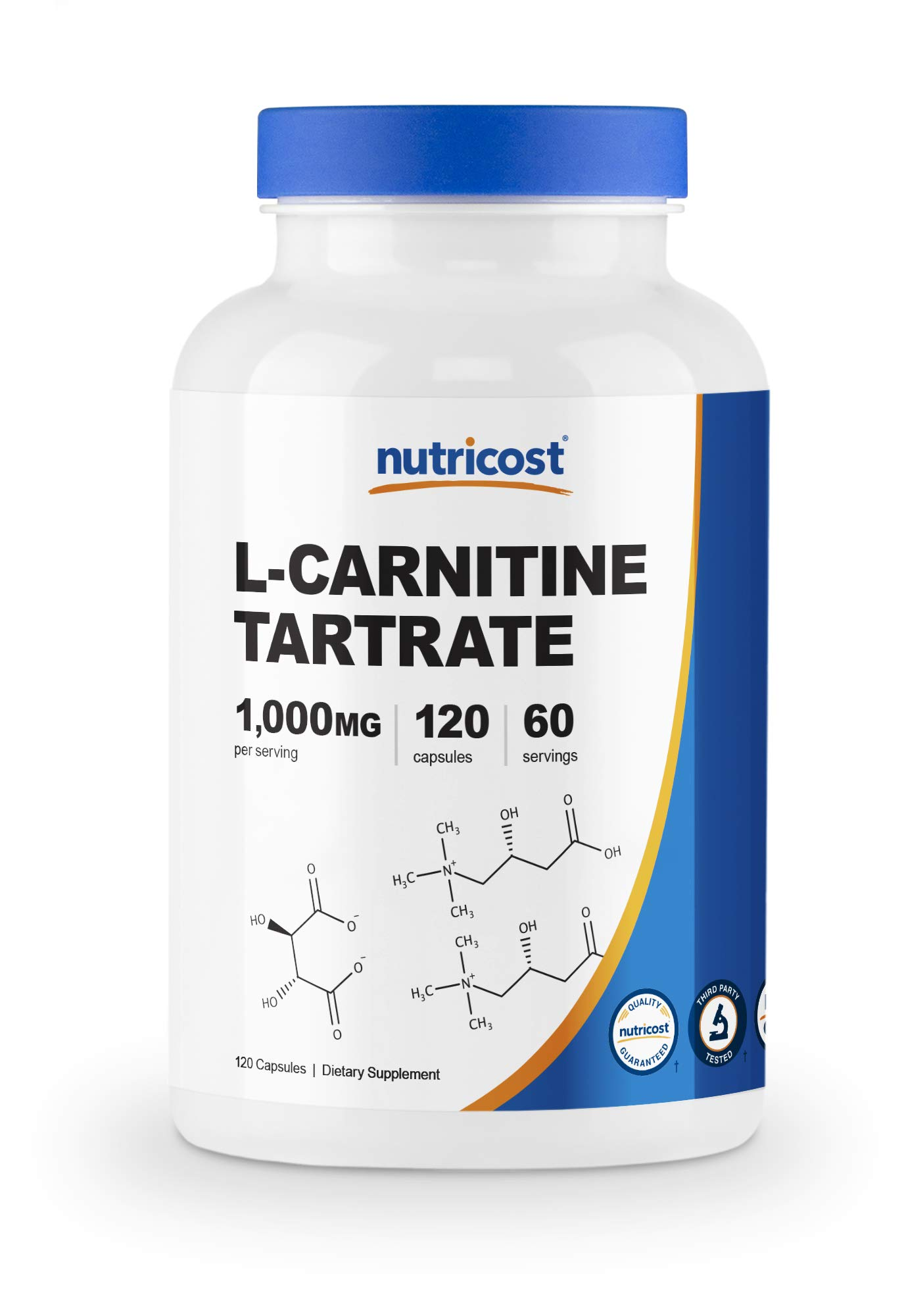 Nutricost L-Carnitine Tartrate 500mg, 120 Capsules - 1000mg Per Serving (60 Servings)