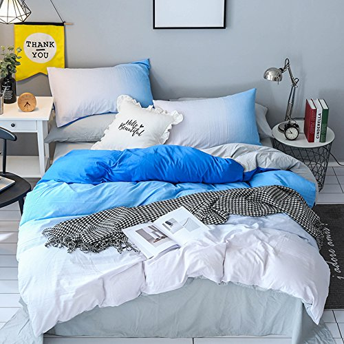 KFZ Hydro Cotton Bed SET(Twin Full Queen King size) [4 piece: duvet cover, Flat sheet, pillow cases] No comforter KY Fifth District Aurora Girlfriend design (Fifth District, Blue, Twin 59