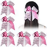 Ncmama Baby Girls Breast Cancer Pink Glitter Cheer Bow Sparkle Hair Tie Ponytail Holder Pack of 5