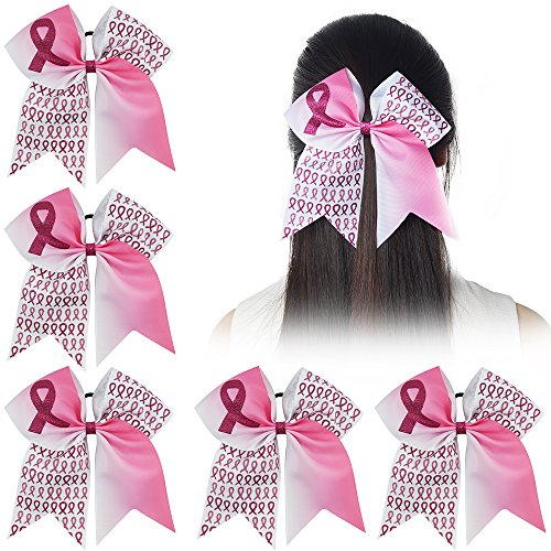 (Ncmama Baby Girls Breast Cancer Pink Glitter Cheer Bow Sparkle Hair Tie Ponytail Holder Pack of)