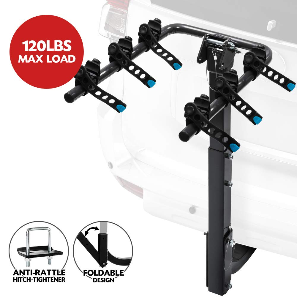 LITE-WAY 3- Bike Hitch Mounted Rack- Heavy Duty Bicycle Carrier Fit Most Sedans, Hatchbacks, Minivans, SUV (2 Inch Receiver) by LITE-WAY