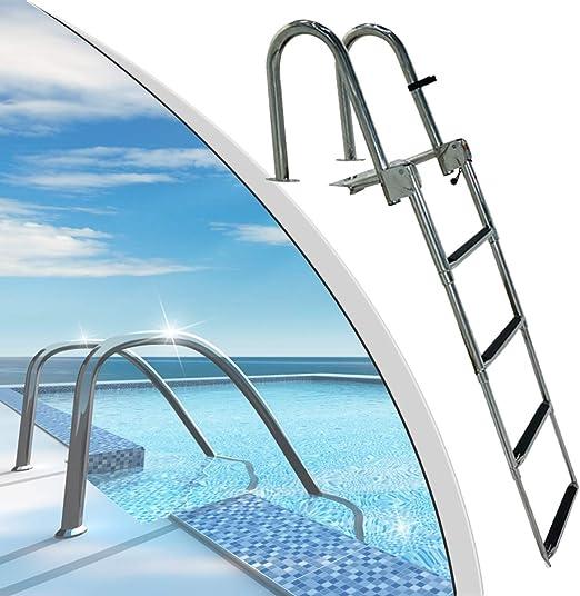 SCXLF 4-Escalones Escaleras para Barcos para Barco y Yate, Escalera de Pontón Extraíble de Acero Inoxidable Escalón Extra Ancho, Escalera de Barco de Cubierta de Servicio Pesado: Amazon.es: Hogar