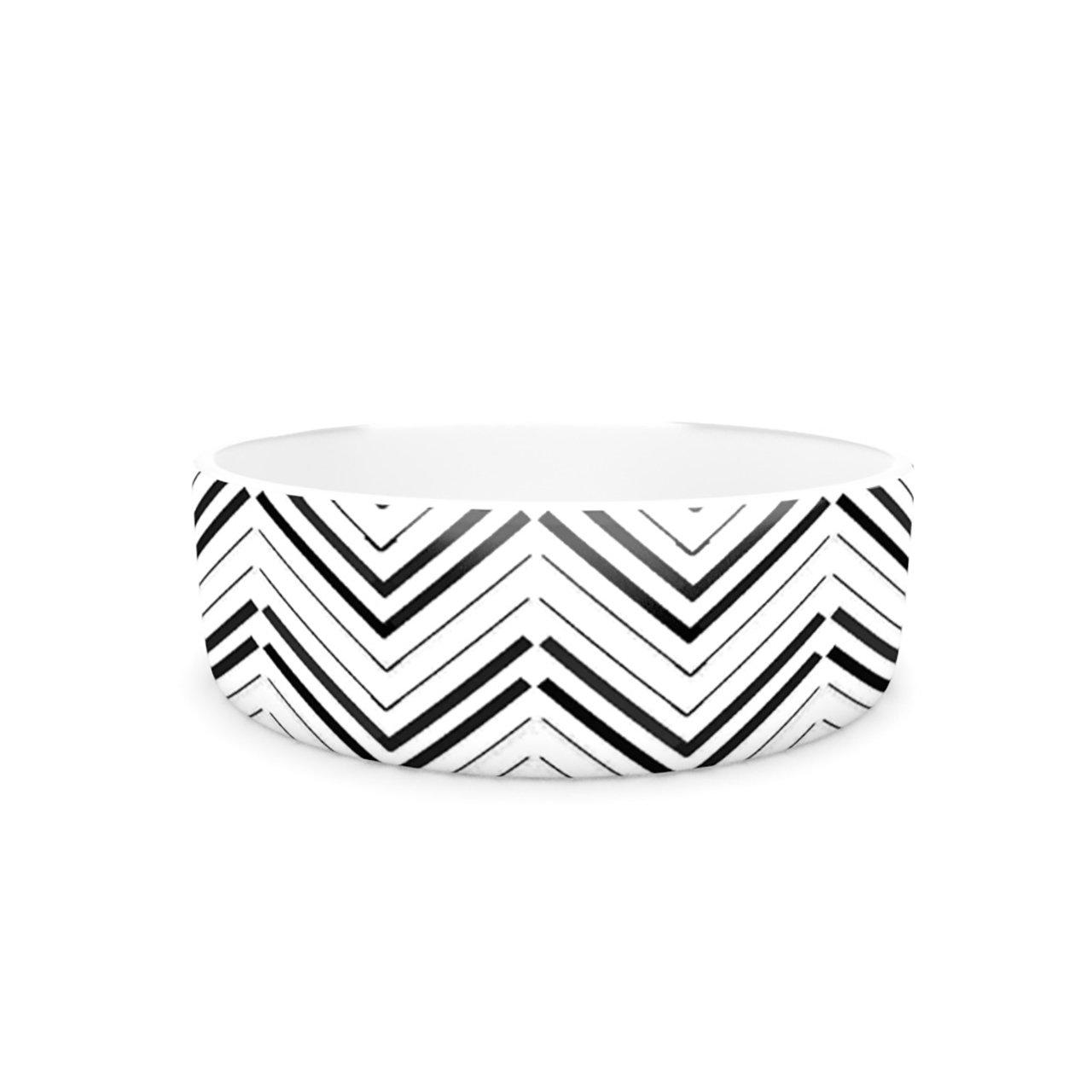 Kess InHouse CarolLynn Tice Distinct  Pet Bowl, 7-Inch, Black White