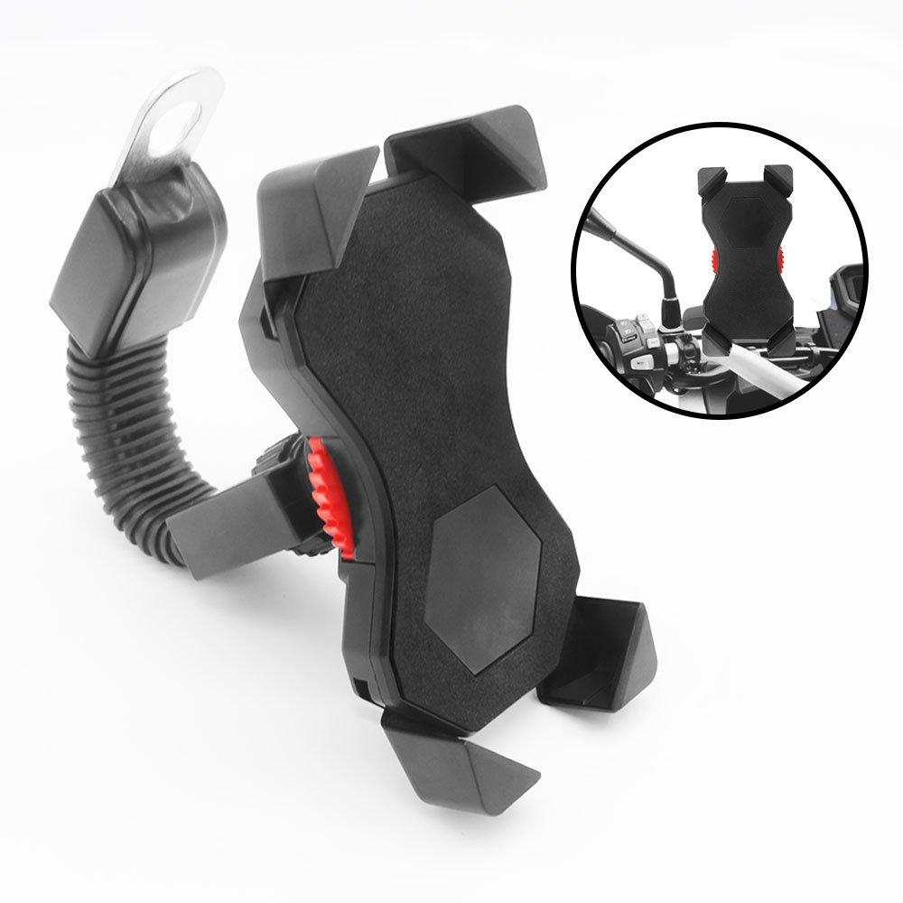 Motorrad Handyhalterung, FEYG Universal Handyhalterung Motorrad 360° drehbar Anti-Shake Handyhalter Motorrad Smartphones 3,5-6,5 Zoll Smartphone Schutz Tasche Handytasche