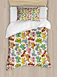 Twin XL Extra Long Bedding Set,Kids Duvet Cover Set,Cartoon Fire Dragons Silly Expressions Colorful Flying Fantasy Fairy Tale Characters,Cosy House Collection 4 Piece Bedding Sets