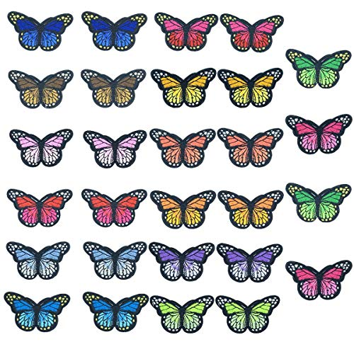 28 Pieces Butterfly Iron on Patches Embroidery Applique Patches for Arts Crafts DIY Decor, Jeans, Jackets, Kids Clothing, Bag,Caps,Arts Craft Sew Making