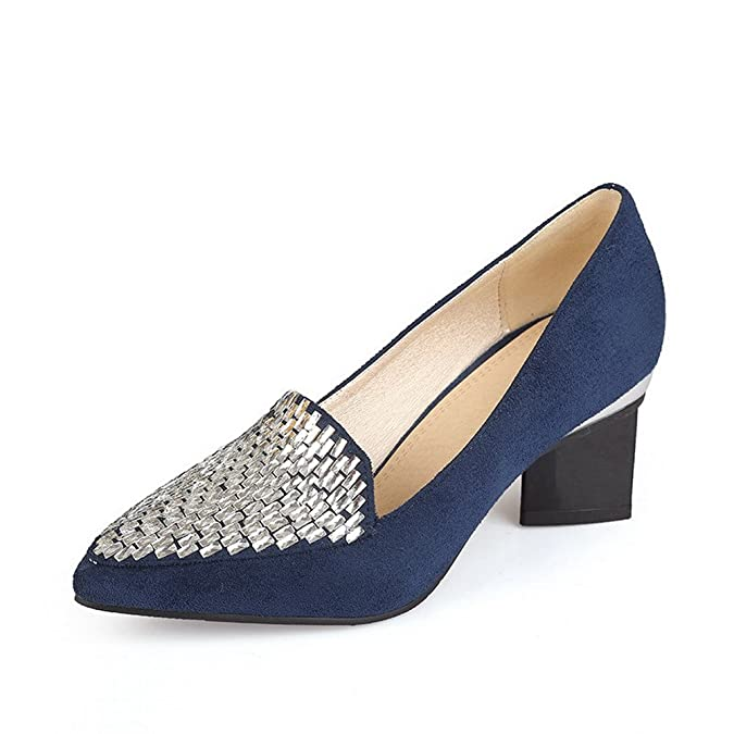 3ea1773f40c AgooLar Women s Pointed Closed Toe Pull-on Imitated Suede Solid Kitten-Heels  Pumps-Shoes  Amazon.co.uk  Shoes   Bags
