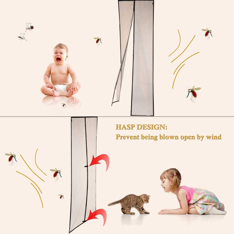 Magnetic mesh Bug Screen Door,Fiberglass Heavy Duty Mosquito Mesh Door Screen with Magnet Pet and Kid Friendly French Door Sliding Patio Door Double Door