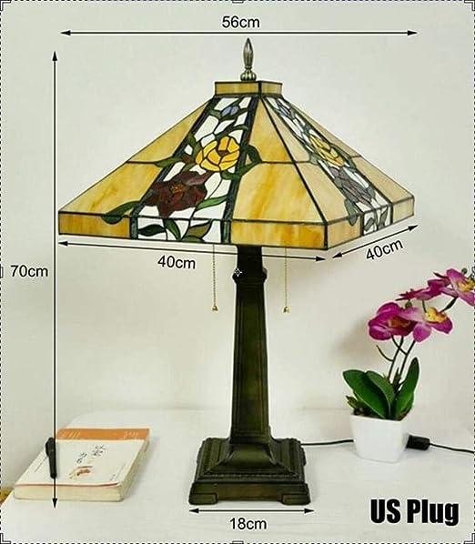 Tiffany lámpara de mesa de 56 cm Rose Sombra de noche creativa de ...