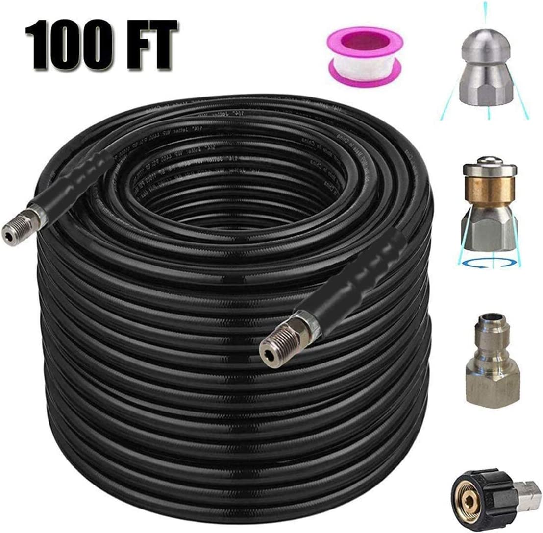 Buyplus Sewer Jetter Kit Pressure Washer - 100 Ft 1/4 Inch NPT, Tube Cleaning Hose, Button Nose and Rotating Sewer Jetting Nozzle, Orifice 4.0, 4.5, 4400 PSI