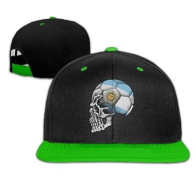 Argentina Soccer Skull Unisex Hip Hop Baseball Cap&Hat KellyGreen ...