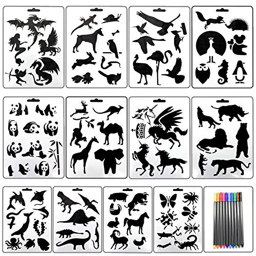 AQUEENLY Drawing Stencils for Kids 16 Pieces Assorted Patterns Painting Stencil Templates for Craft Projects, Scrapbook, with 10 Colors Paint Pens Craft Stencil Template Pattern