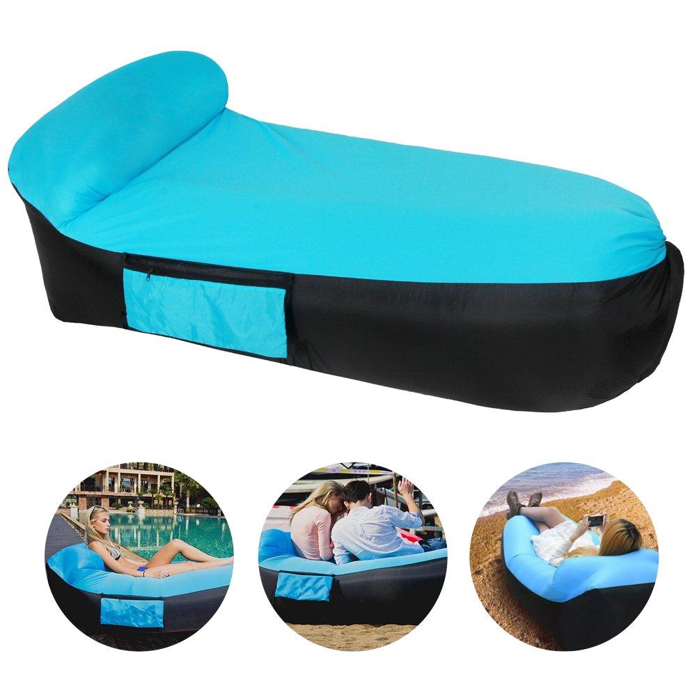 Gonfiabile, portatile e divano letto gonfiabile aria sedia sdraio da esterno con borsa da viaggio per home interni per attività all' aperto, blue-black Color Zebra