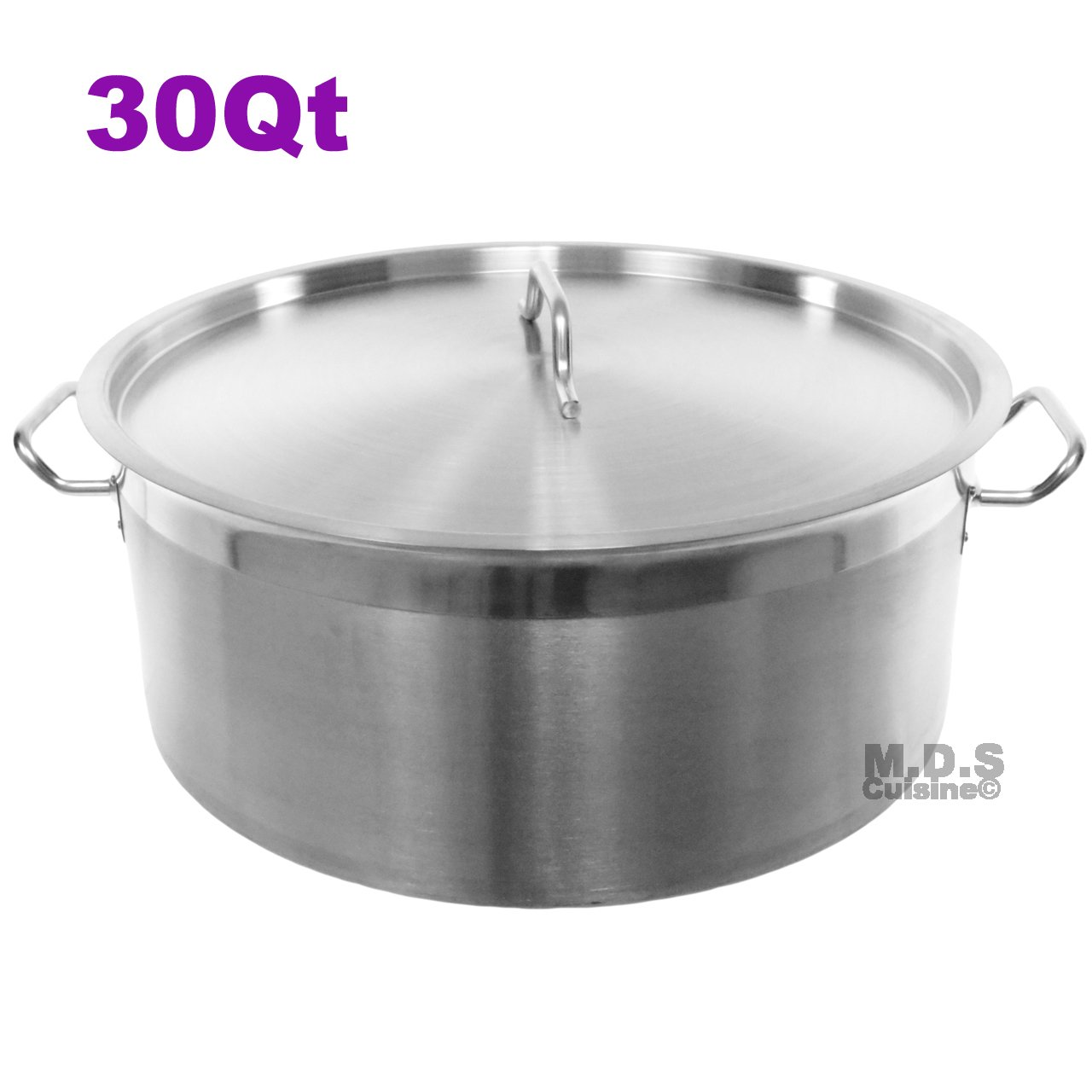 Dutch Oven Pot 30 Qt Heavy Duty Commercial Restaurant Capsulated Bottom w/Lid Traditional Olla Brushed Stainless Steel Low Pot Stockpot
