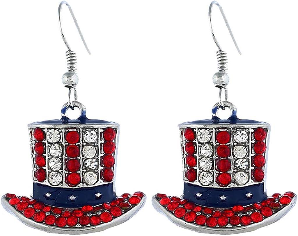YWLINK Pendientes De AleacióN Aretes Mujer Simple DíA De La Independencia Bandera Sombrero Diamante Metal Aretes Damas JoyeríA Accesorios De Vestir Fiesta De Carnaval
