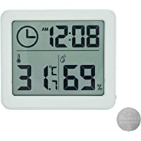 Digital Indoor Hygrometer Thermometer with Time Display, Accurate Temperature Humidity Monitor Meter for Home, Office…