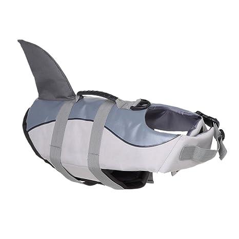Chaleco salvavidas ajustable para perros con patrón de tiburón
