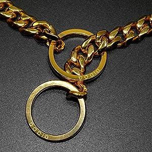 Didog Luxury Titan Choke Chain Collar,Dog Training Collars,Best for Pit Bull,Doberman,Mastiff,Bulldog,Golden,22 Inch