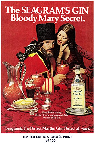 Lost Posters RARE POSTER thick SEAGRAM'S EXTRA DRY gin 2018 bloody mary secret REPRINT #'d/100!! (Extra Dry Gin)