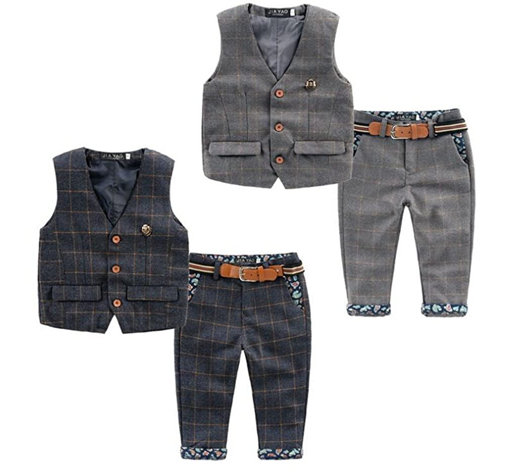 pants two-piece suit Boys plaid vest presented Belt