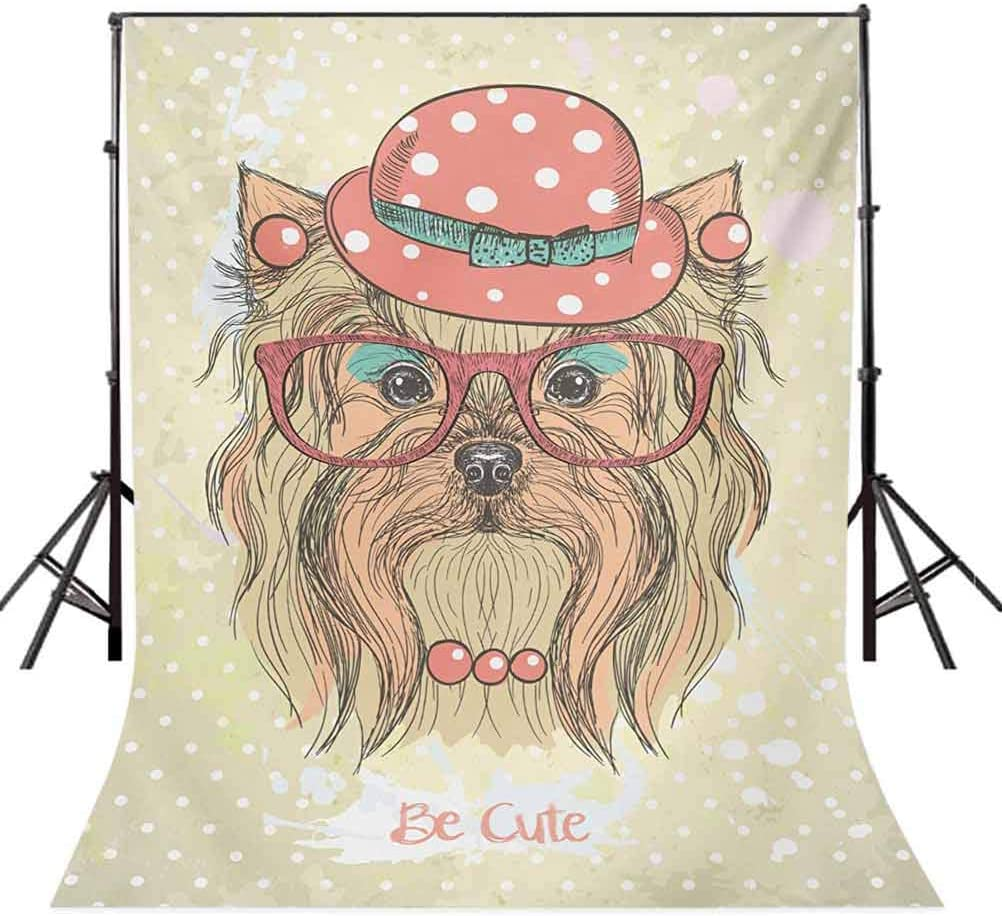 6.5x10 FT Photo Backdrops,Be Cute Portrait of an Adorable Dog with Earrings Necklace Glasses Hat Makeup Background for Kid Baby Boy Girl Artistic Portrait Photo Shoot Studio Props Video Drape Vinyl