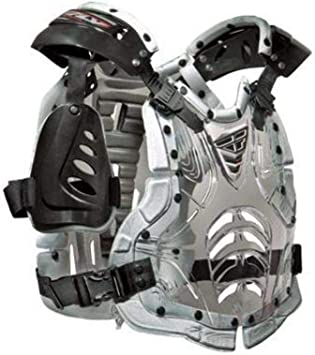 NEW FLY RACING CONVERTIBLE II CLEAR SILVER CHEST PROTECTOR ONE SIZE YOUTH KIDS