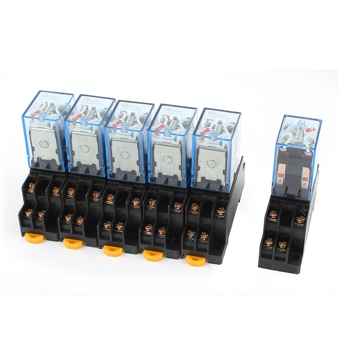 uxcell 6 Pcs AC 110/120V 5A Coil 5mm DIN Rail DPDT 8Pins Power Relay Base