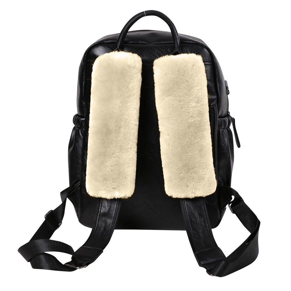 Alusbell 2PCS Genuine Wool Soft Seatbelt Pads SZMLS MLS-CSSP-02 Pearl white Leather Backing Sheepskin Shoulder Strap Belt Covers Harness For Cars//Bags//Cameras//,Perfect Stress Relax for Your Neck And Shoulder