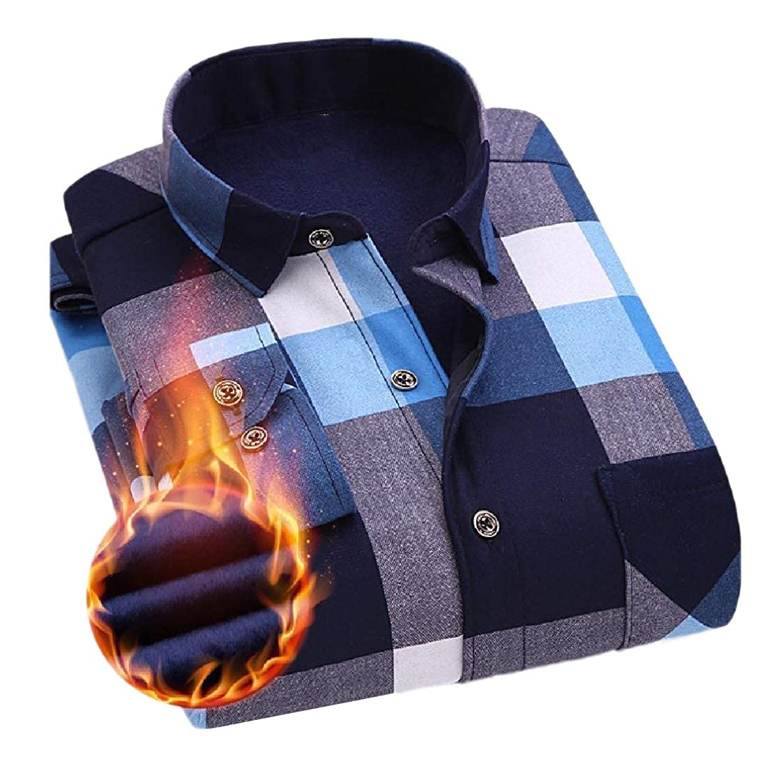SportsX Mens Tops Plaid Thicken Plus Velvet Cozy Fitted Dress Shirts