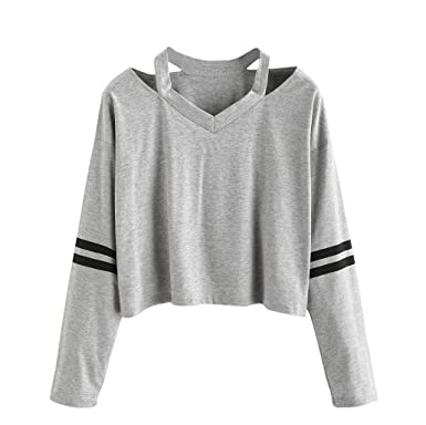 ac9e90749770 Pull Femmes Angelof Court Pull Femme Mode Coton MéLange Gris Long Manche  Sweatshirt V Cou Causal