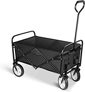 YSSOA Rolling Folding & Rolling Collapsible Garden Cart Outdoor Camping Wagon Utility with 360 Degree Swivel Wheels & Adjustable Handle, 220lbs Weight Capacity, Black