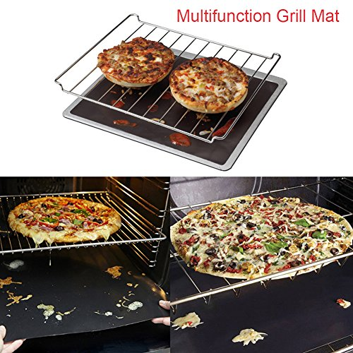 GDEALER BBQ Grill Mat 16''x13'' Barbecue Grill Mats Grilling Mat Set of 4 Reusable Heat Resistant Heavy Duty Non-stick Barbecue Sheets for Baking on Gas, Charcoal and Electric Grills by GDEALER (Image #3)