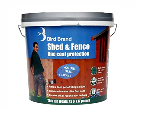 Bird Brand, Child, Pet and Plant Safe, Quick Drying Shed And Fence One Coat Protection Paint - 5 Litre - Azure Blue