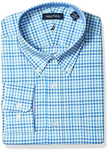 Nautica Mens Classic Fit Performance Plaid Button Down Collar Shirt, Blue