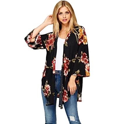 779ec6cc9ec69 Sinwo Women Fashion Floral Print Loose Shawl Kimono Cardigan Top Cover up  Shirt Blouse (Black