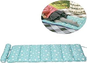 Creation Core Folding Mattress Ultra Soft Cotton Children or Adult Nap Mat Office Sleeping Mat with Removable Pillow (Blue Star)