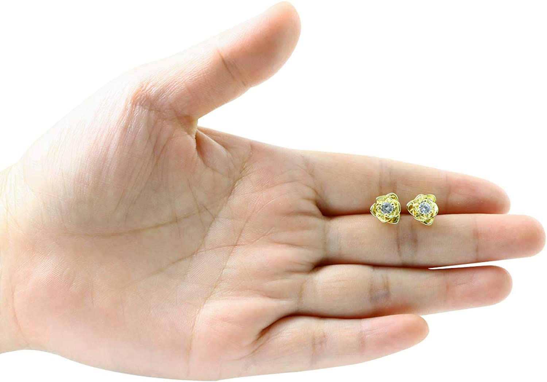 Hypoallergenic Earrings for Women White Gold /& Yellow Gold Plated Rose Flower Ear Studs