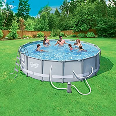 """Coleman Power Steel 14' x 42"""" Frame Swimming Pool Set with Filter Pump, Ladder, Cover and Maintenance Kit"""