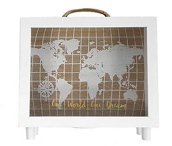 Holz Spardose One World One Dream Sparbox Mit Weltkarte 20 X 20