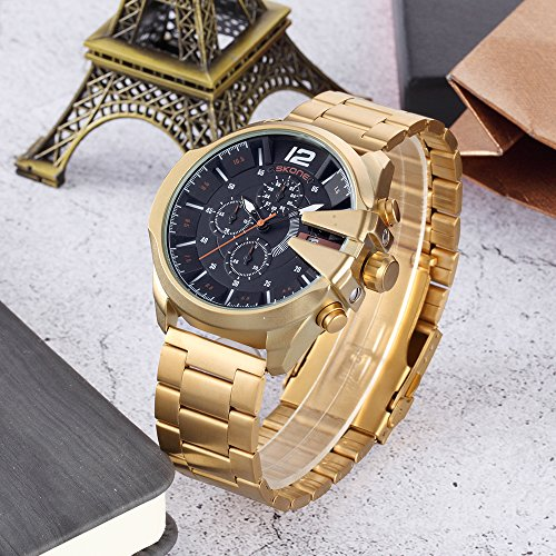 Unique Watch for Men Quartz Analog Big Face Gold Wrist Watches, Men's Multifunction Stainless Steel Gift Watches reloj de Hombre