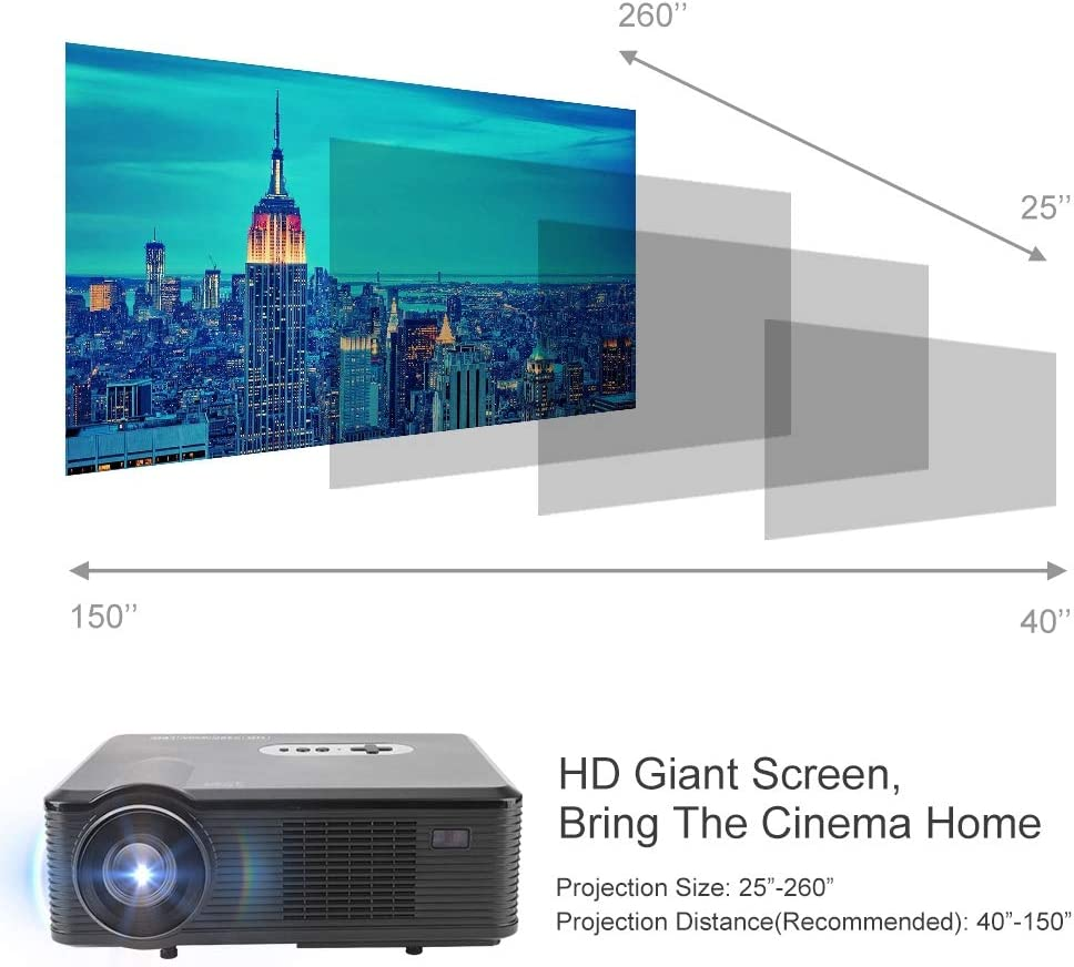Wendry Mini proyector, 1080P HD LED Protable Projector, 6000 Lux ...