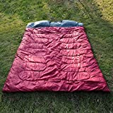 "Outsunny 86"" x 60"" Double Wide Two-Person Sleeping Bag Outdoor Camping with 2 Pillows Carry Bag Temperature Rating: -5° C/23F - 10° C/50F"
