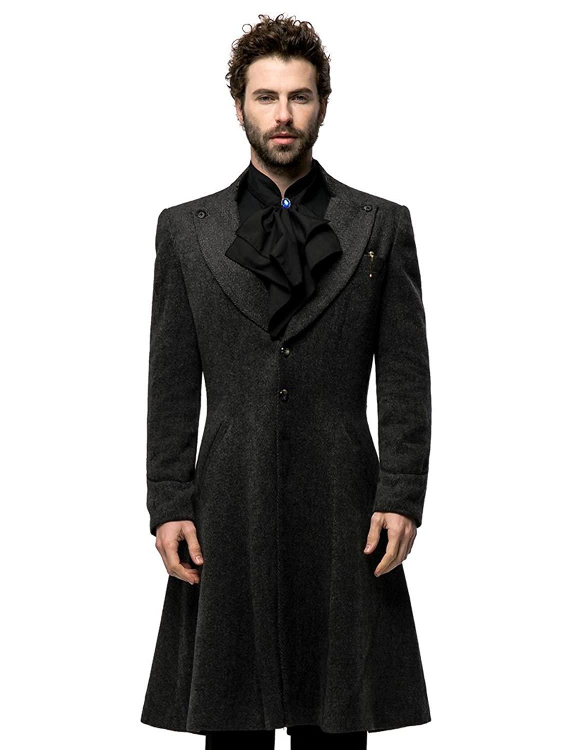 Steampunk Men's Coats Aristocrat Black&grey Wool Blend Long Coat for Man $195.00 AT vintagedancer.com