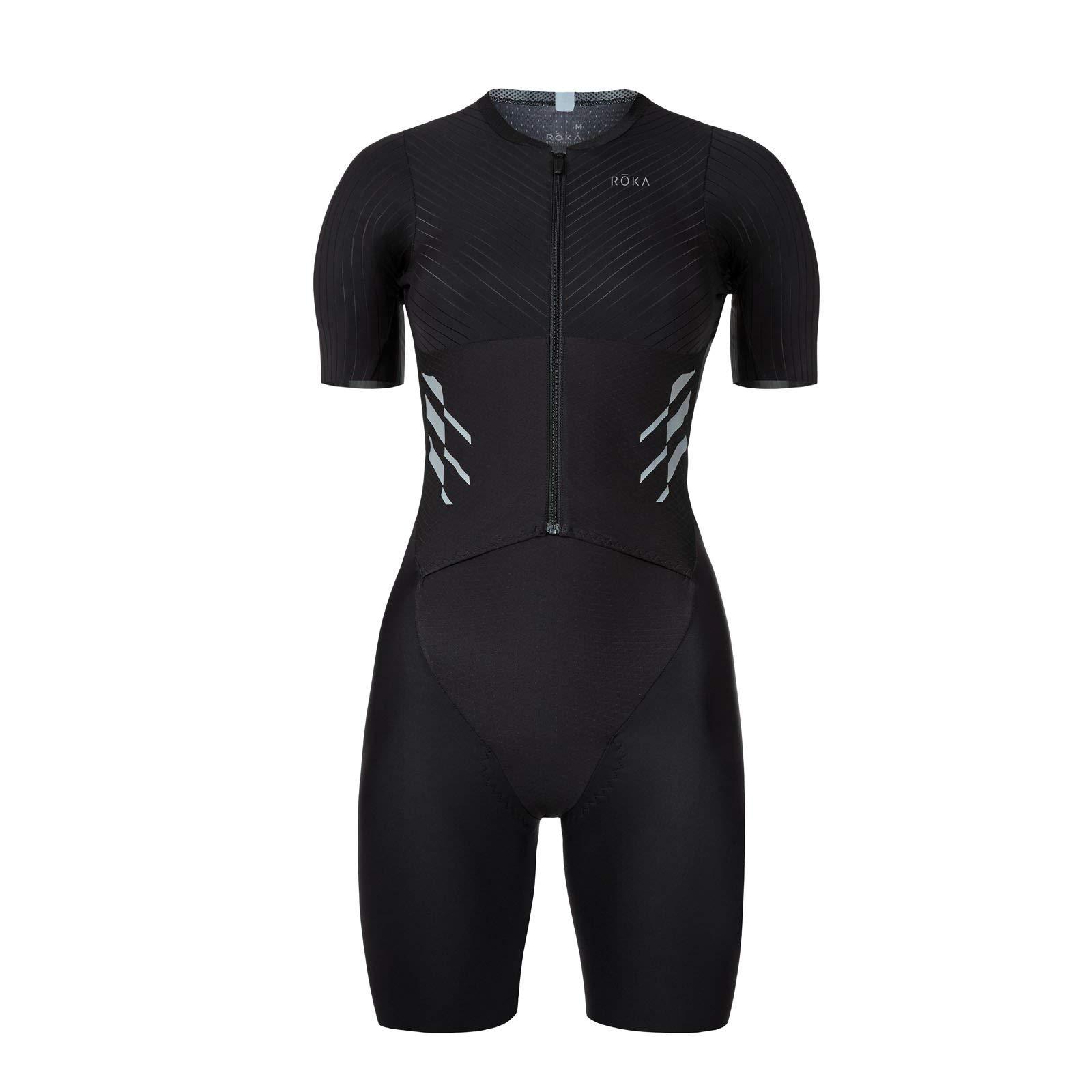 ROKA Women's Gen II Elite Aero Short Sleeve Triathlon Sport Suit - Black - X-Small