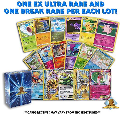 100 Pokemon Cards with 1 Break Rare and 1 EX Ultra Rare! 3 Pokemon Foil Cards! Includes Golden Groundhog Deck Box!